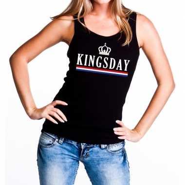 Goedkope kingsday tanktop / mouwloos shirt zwart dames