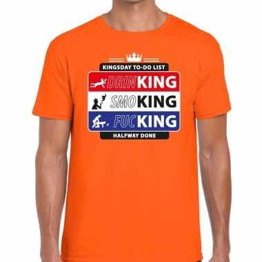 Goedkope kingsday to do list shirt oranje heren