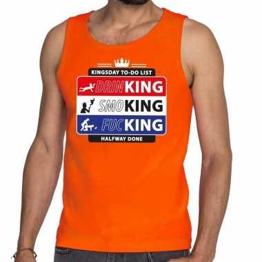 Goedkope kingsday to do list tanktop/mouwloos shirt oranje heren