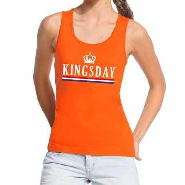 Goedkope kingsday vlag tanktop / mouwloos shirt oranje dames