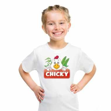 Goedkope kippen dieren t shirt wit voor kinderen