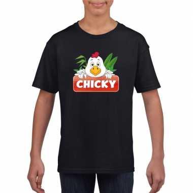 Goedkope kippen dieren t shirt zwart voor kinderen