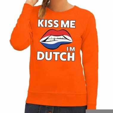 Goedkope kiss me i am dutch oranje trui voor dames