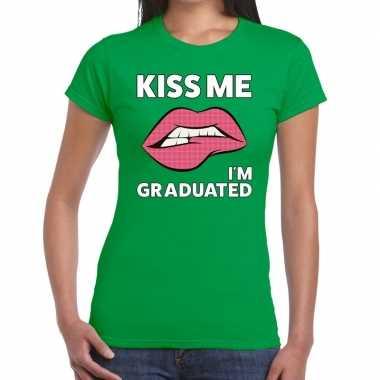Goedkope kiss me i am graduated groen fun t shirt voor dames