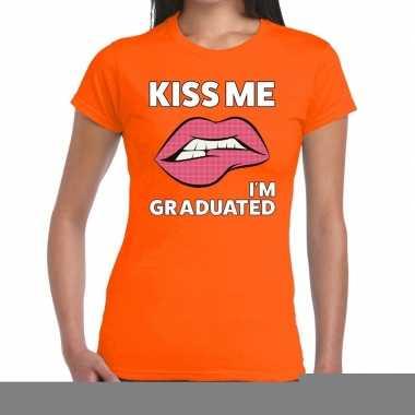Goedkope kiss me i am gratuaded oranje fun t shirt voor dames