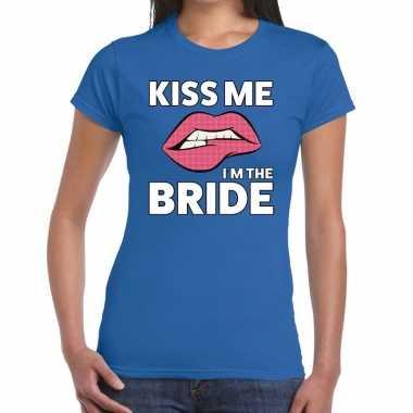 Goedkope kiss me i am the bride blauw fun t shirt voor dames