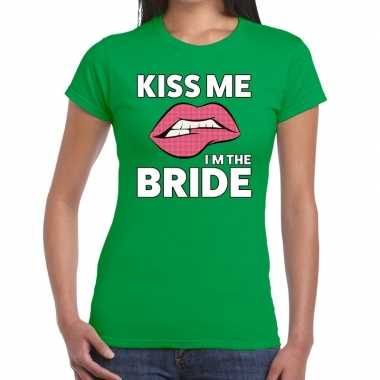 Goedkope kiss me i am the bride groen fun t shirt voor dames