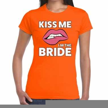 Goedkope kiss me i am the bride oranje fun t shirt voor dames