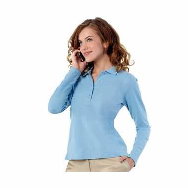 Goedkope kleren lichtblauwe dames poloshirt lange mouw