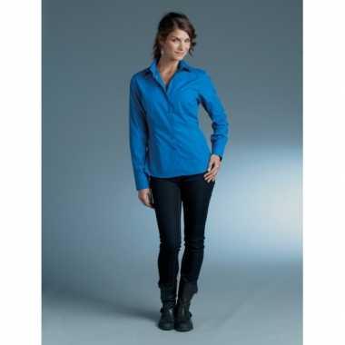 Goedkope kobalt blauw dames overhemd