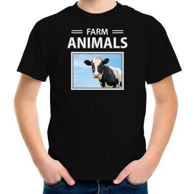 Goedkope koe foto t shirt zwart voor kinderen farm animals cadeau shirt koeien liefhebber