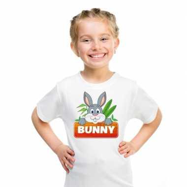 Goedkope konijnen dieren t shirt wit voor kinderen