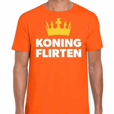 Goedkope koning flirten t shirt oranje heren