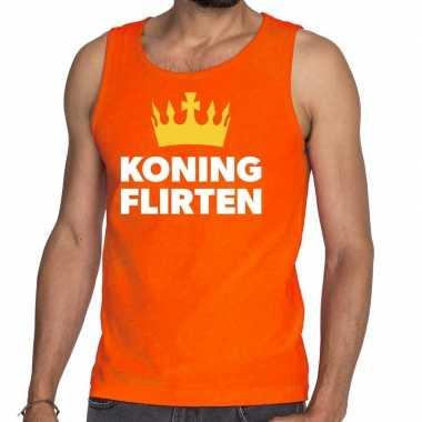 Goedkope koning flirten tanktop / mouwloos shirt oranje heren
