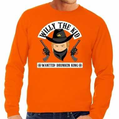 Goedkope koningsdag fun sweatshirt willy the kid oranje heren