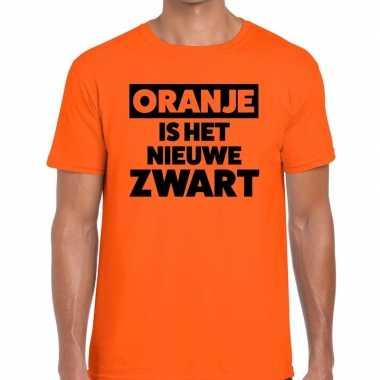 Goedkope koningsdag fun t shirt oranje is het nieuwe zwart heren