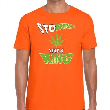 Goedkope koningsdag fun t shirt stoned oranje heren