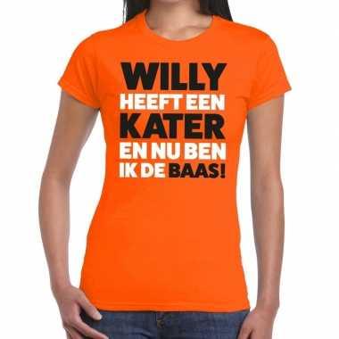 Goedkope koningsdag fun t shirt willy heeft een kater oranje dames