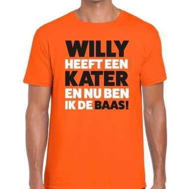 Goedkope koningsdag fun t shirt willy heeft een kater oranje heren