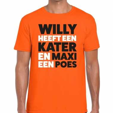 Goedkope koningsdag fun t shirt willy kater maxi poes oranje heren