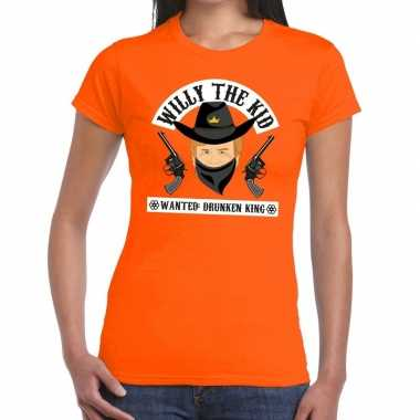 Goedkope koningsdag fun t shirt willy the kid oranje dames