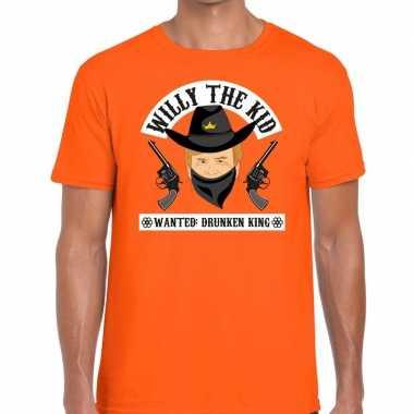 Goedkope koningsdag fun t shirt willy the kid oranje heren