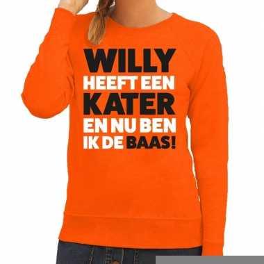 Goedkope koningsdag fun trui willy heeft een kater oranje dames