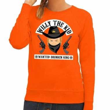 Goedkope koningsdag fun trui willy the kid oranje dames
