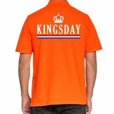 Goedkope koningsdag kingsday polo t shirt oranje met kroontje voor he