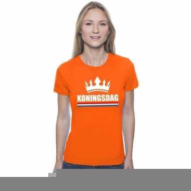 Goedkope koningsdag met een kroon shirt oranje dames
