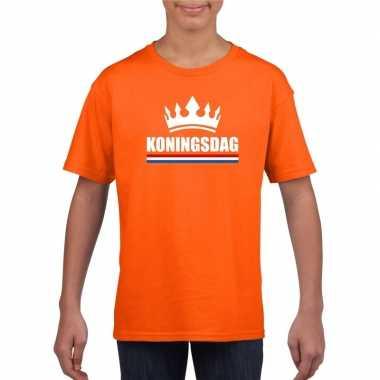 Goedkope koningsdag met een kroon shirt oranje kinderen