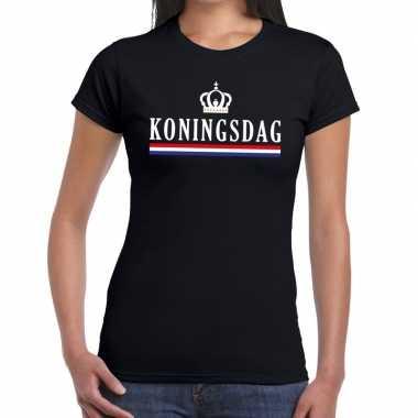 Goedkope koningsdag met hollandse vlag en kroontje t shirt zwart dame