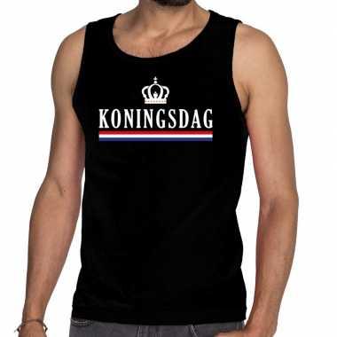 Goedkope koningsdag met vlag en kroon tanktop / mouwloos shirt zwart