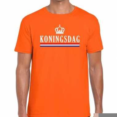 Goedkope koningsdag met vlag en kroontje t shirt oranje heren