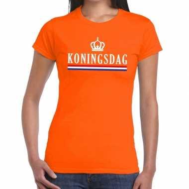 Goedkope koningsdag met vlag/kroontje t shirt oranje dames