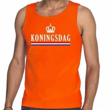 Goedkope koningsdag met vlag tanktop / mouwloos shirt oranje heren