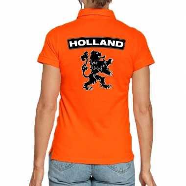 Goedkope koningsdag polo t shirt oranje holland met grote zwarte leeu