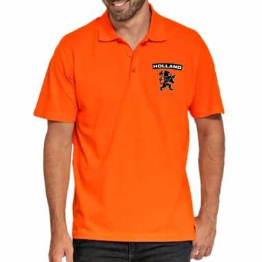 Goedkope koningsdag polo t shirt oranje holland met zwarte leeuw voor