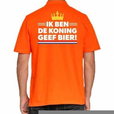 Goedkope koningsdag polo t shirt oranje ik ben koning geef bier voor