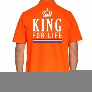 Goedkope koningsdag polo t shirt oranje king for life voor heren
