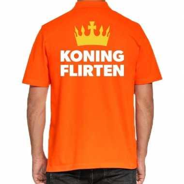 Goedkope koningsdag polo t shirt oranje koning flirten voor heren