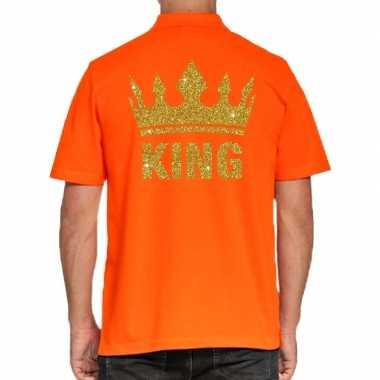 Goedkope koningsdag polo t shirt oranje met gouden glitter king voor