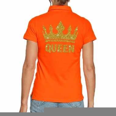 Goedkope koningsdag polo t shirt oranje met gouden glitter queen voor