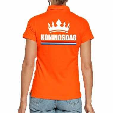 Goedkope koningsdag polo t shirt oranje met kroon voor dames