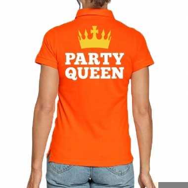 Goedkope koningsdag polo t shirt oranje party queen voor dames