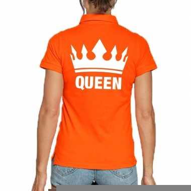 Goedkope koningsdag polo t shirt oranje queen voor dames