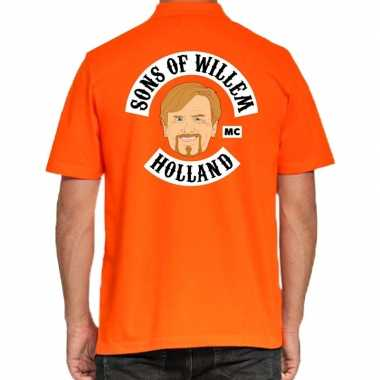 Goedkope koningsdag polo t shirt oranje sons of willem holland mc voo