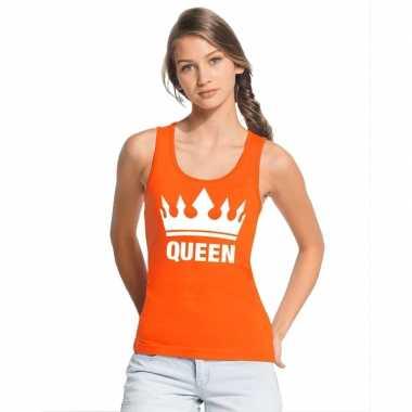 Goedkope koningsdag queen topje/shirt oranje dames