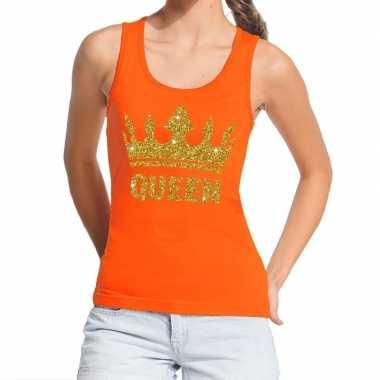 Goedkope koningsdag queen topje/shirt oranje met gouden glitters dame