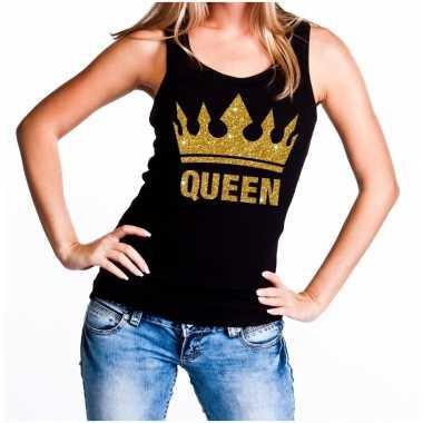 Goedkope koningsdag queen topje/shirt zwart met gouden glitters dames